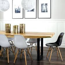 White Dining Chair Modern Live Edge Table With Molded Plastic Chairs