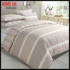details about king size duvet quilt cover bedding beige cream stripe bed 2 side bedroom set uk