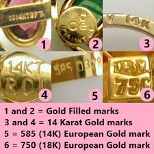 vine jewelry marks for gold purity