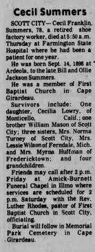 Obituary for Cecil Franklin Summers (Aged 78) - Newspapers.com