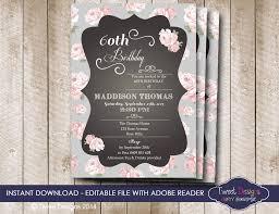 shabby chic birthday invitation instant high tea invitation rose invitation 1st 30th 40th 50th 60th edit with adobe reader