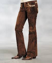 all gone brown leather bootcut pants women