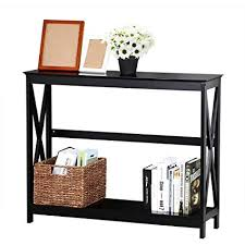 R Topeakmart 2Tier XDesign Occasional Console Sofa Entry Hall Table With  Storage Shelf