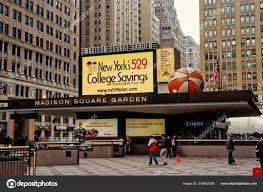 entrance marquee of madison square garden in new york usa stock photo