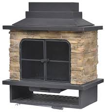 brown steel outdoor wood burning fireplace contemporary