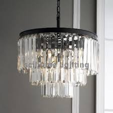 1920 odeon modern glass crystal fringe 3 ring wrought iron chandeliers