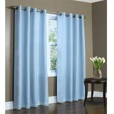 blue thermavoile rhapsody semi sheer lined grommet top curtain panel by commonwealth home fashions