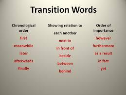 Chronological Words Chronological Transition Words List Chronological Transition Words
