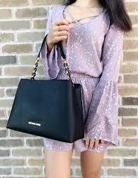 michael kors portia large saffiano black satchel cross handbag shoulder bag