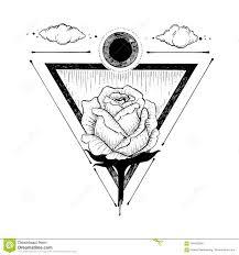 эскиз красивых розовых цветка и треугольника на белизне иллюстрация