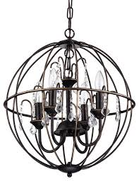 dover 4 light antique bronze globe cage chandelier with crystals 16 5