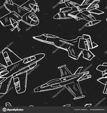 Stíhací Letoun Vintage Dekorace Ručně Kreslenou Doodle Vzor