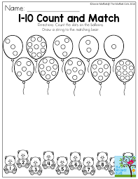 1-10 Count and Match- Count the dots on the balloons. Draw a string ...