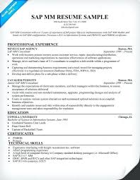 Sap Mm Resume Sap Mm Functional Consultant Resume Sample Collection