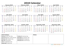 printable 2018 calendar