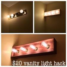 cheap vanity lighting. Bathroom Vanity Light DIY Makeover - I Built A Thin Wood Box To Cover The Ugly Cheap Lighting .