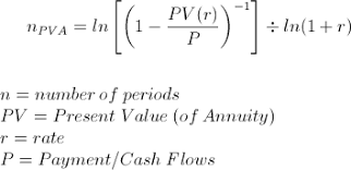Periodic Payment Formula Solve For Number Of Periods On Annuity Pv Formula And Calculator