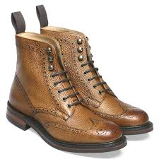 olivia r wingap brogue boot in almond grain leather