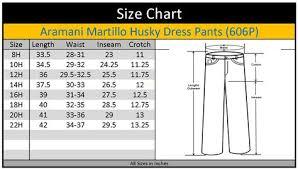Husky Pants Size Chart Armando Martillo Boys Flat Front Elastic Waist Dress Pants