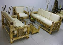 bamboo design furniture. Cozy Living Room Interior Design Ideas With Beige Bamboo Sofa Furniture Set Using White Fabric Cover Foam Also Rectangular Glass Coffee Table
