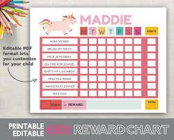 Editable Reward Chart Printable Reward Chart Unicorn Fillable Editable Girl Reward Chart Pink Chore Chart Behavior Chart Routine Chart 8 5x11 Size Printable