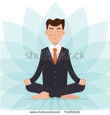 meditation businessman office. office worker meditating sitting in lotus pose businessman meditation concept vector illustration