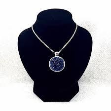 navy druzy necklace round druzy pendant