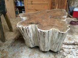 White Washed Cypress Stump Table