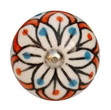 Porcelain Cabinet Pulls Decorative Knobs Vintage White Black And