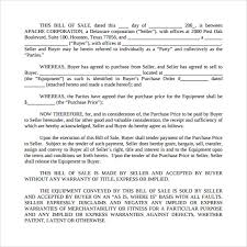 Sample Equipment Bill Of Sale Template 6 Free Document