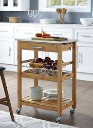 Image Is Loading Small Kitchen Cart Bamboo Stainless Steel Top Island