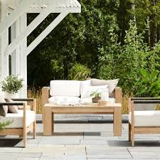 montpelier 4pc wood patio furniture set natural smith hawken extend your sense of style
