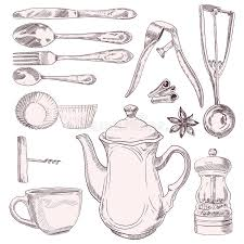 kitchen utensils drawing. Full Size Of Kitchen:cup Tea Vintage Kitchen Utensils Isolated White Background 41910185 Gorgeous Illustration Large Drawing