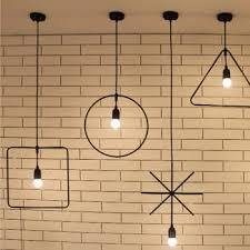 harga murah geometric iron art chandelier simple creative retro style chandelier for cafe hair salon bar