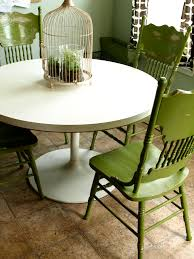 White Distressed Kitchen Table Painted And Distressed Green Kitchen Chairs See Cate Create