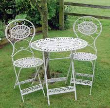 pretty metal garden table 27 cream french ornate and 2 chairs