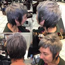 Womens Silver Ombre Pixie Cut With Long Shaggy Fringe And Short