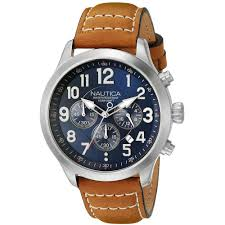nautica men 039 s 45mm brown leather band steel case quartz image is loading nautica men 039 s 45mm brown leather band