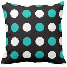 pillow case big polka dots teal black and white square sofa cushions cover