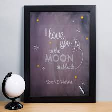 personalised print i love you to the moon and back gettingpersonal  on personalised framed wall art uk with personalised print i love you to the moon and back