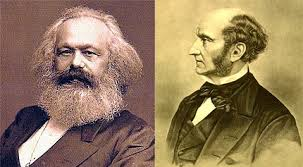 on dom and progress comparing marx and mill inquiries journal karl marx left and john stuart mill right