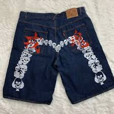 Evisu Jeans Size Chart Details About Evisu Denim Dark Wash Jean Shorts Men S Size 42 Embroidered Skull