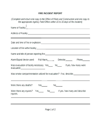 Accident Report Form Template Downloadable Incident Blank Fire Acc