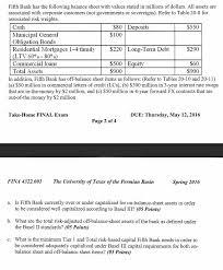 definitions of balance sheet fifth bank has the following balance sheet with va chegg com