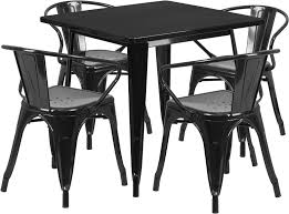 31 5 square black metal indoor outdoor table set with 4 arm chairs