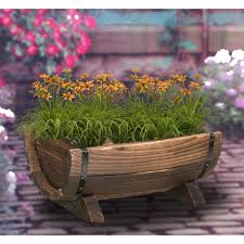 gardenised half barrel garden planter small