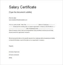 Salary Certificate Letter Format Sample Professional Letter Formats