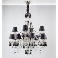 diamond black chandelier with 2 levels and 12 arms