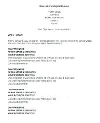 Examples Of Chronological Resumes Resume Template Inspirational What