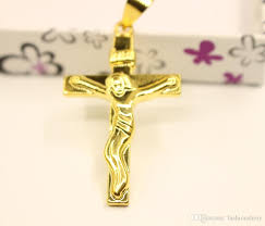 whole men women 24k yellow gold filled crucifix cross pendant with 18 thin chain necklace mens pendant necklace photo pendant necklace from fashionshiny